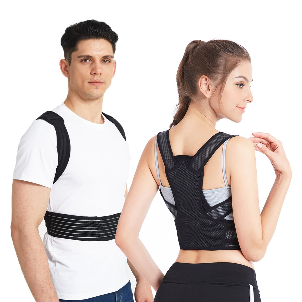 Slimerence Rücken Haltungskorrektur, Rücken Schulter Verstellbar Atmungsaktiv Bandage Geradehalter zur Haltungskorrektur