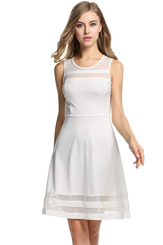 Damen Sommerkleid Ärmellos mit Mesheinsatz Elegant Partykleid Kurz Knielang Kleid