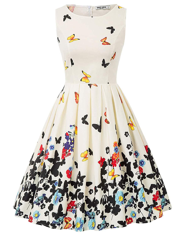 11,99€ - KARIN Damen Rockabilly Kleid Knielang Blumenkleid ...