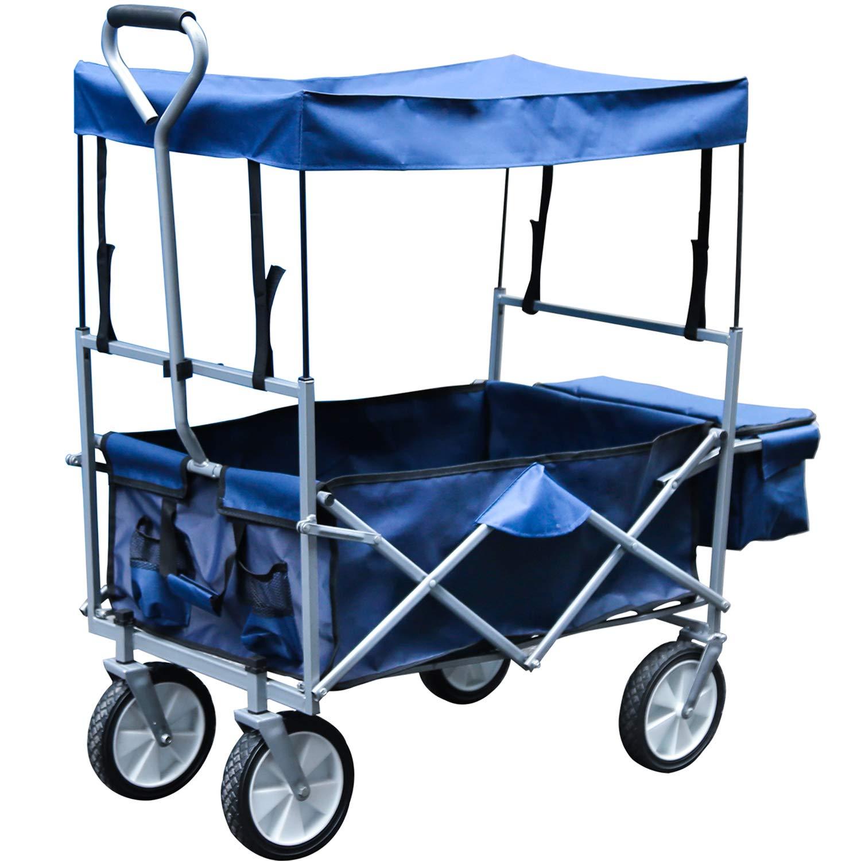 Faltbarer Bollerwagen mit Dach Handwagen Klappbar Gartenwagen Transportkarre Belastbar bis 80kg, 360 ° Drehbar Räder