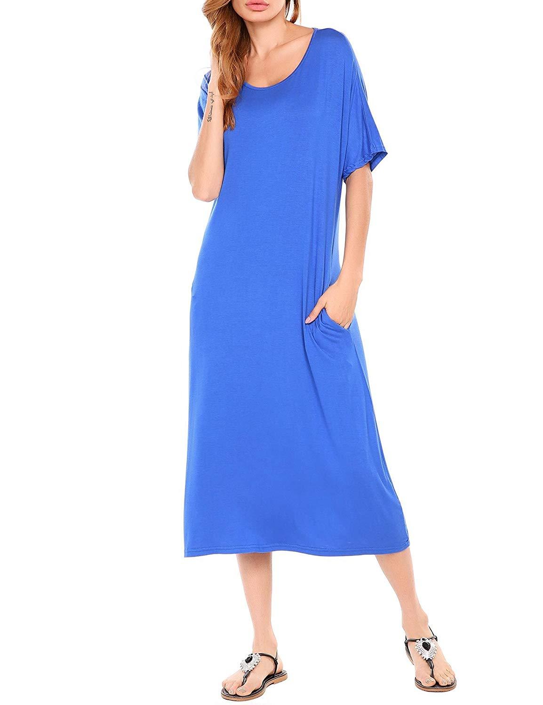 Jintes Frauen Casual O-Neck Half Sleeve Solid Rücken Hollow Out Elastische Maxi Kleid