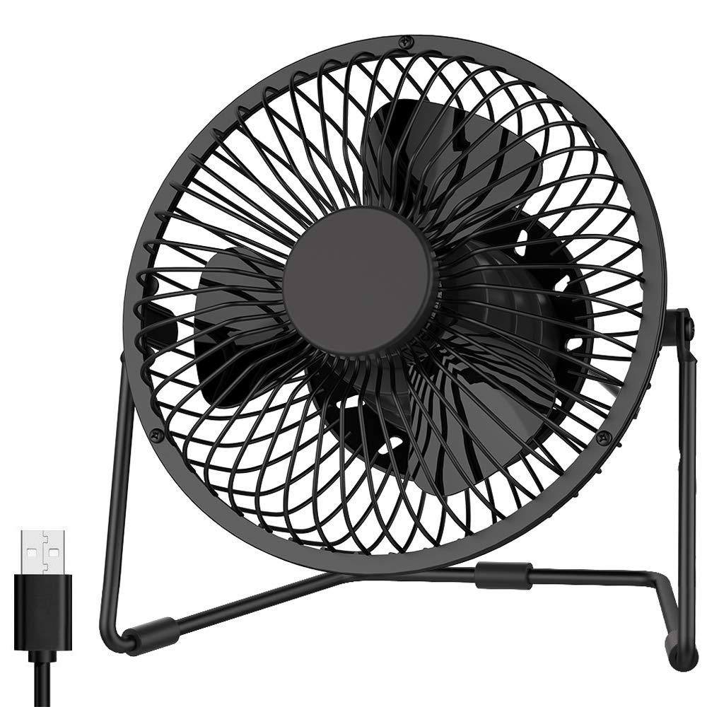 EasyAcc 5 Zoll USB Ventilator Mini Lüfter Tischventilator 2 Geschwindigkeiten Benutzung Flüsterleise 360 Grad Rotation