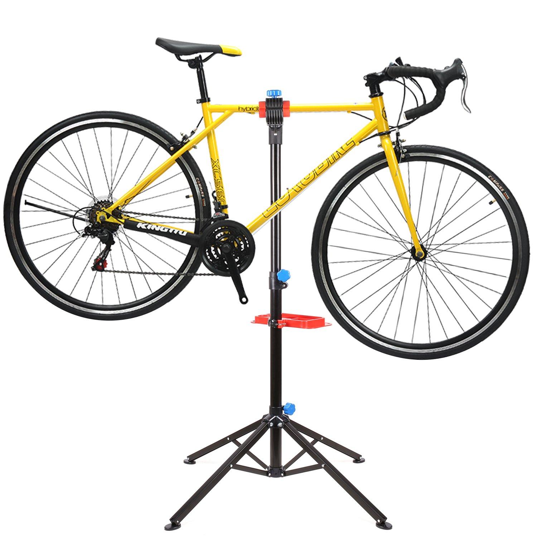 FEMOR Fahrradmontageständer mit Werkzeugablage Fahrrad Reparaturständer höhenverstellbar & klappbar, vierbeiniger Werkzeugständer
