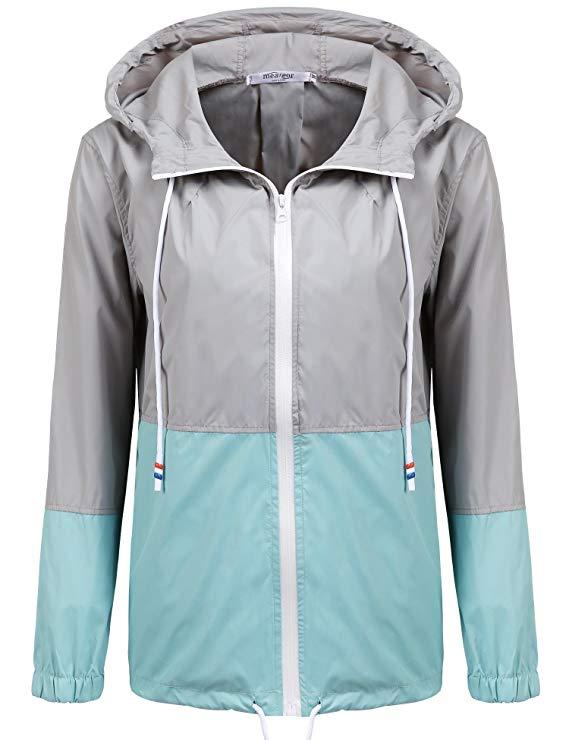 Modfine Damen Jacke Sommer Windbreaker Übergangsjacke Wasserabweisend Regenmantel Regenjacke mit Kapuze in 14 Farben