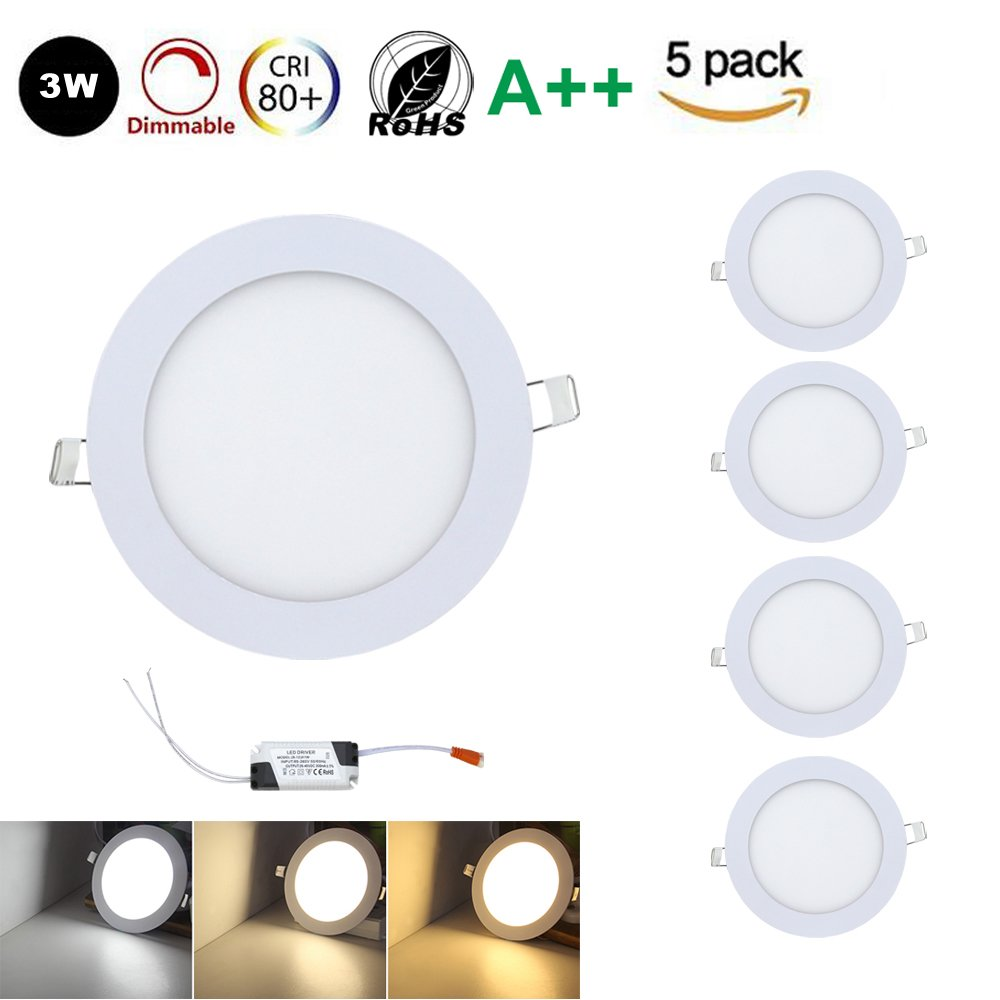 5x3W Rund LED Panel LED Lichtfarbe 3000-6500K Einaustrahler Deckenstrahler Panellampe Beleuchtung