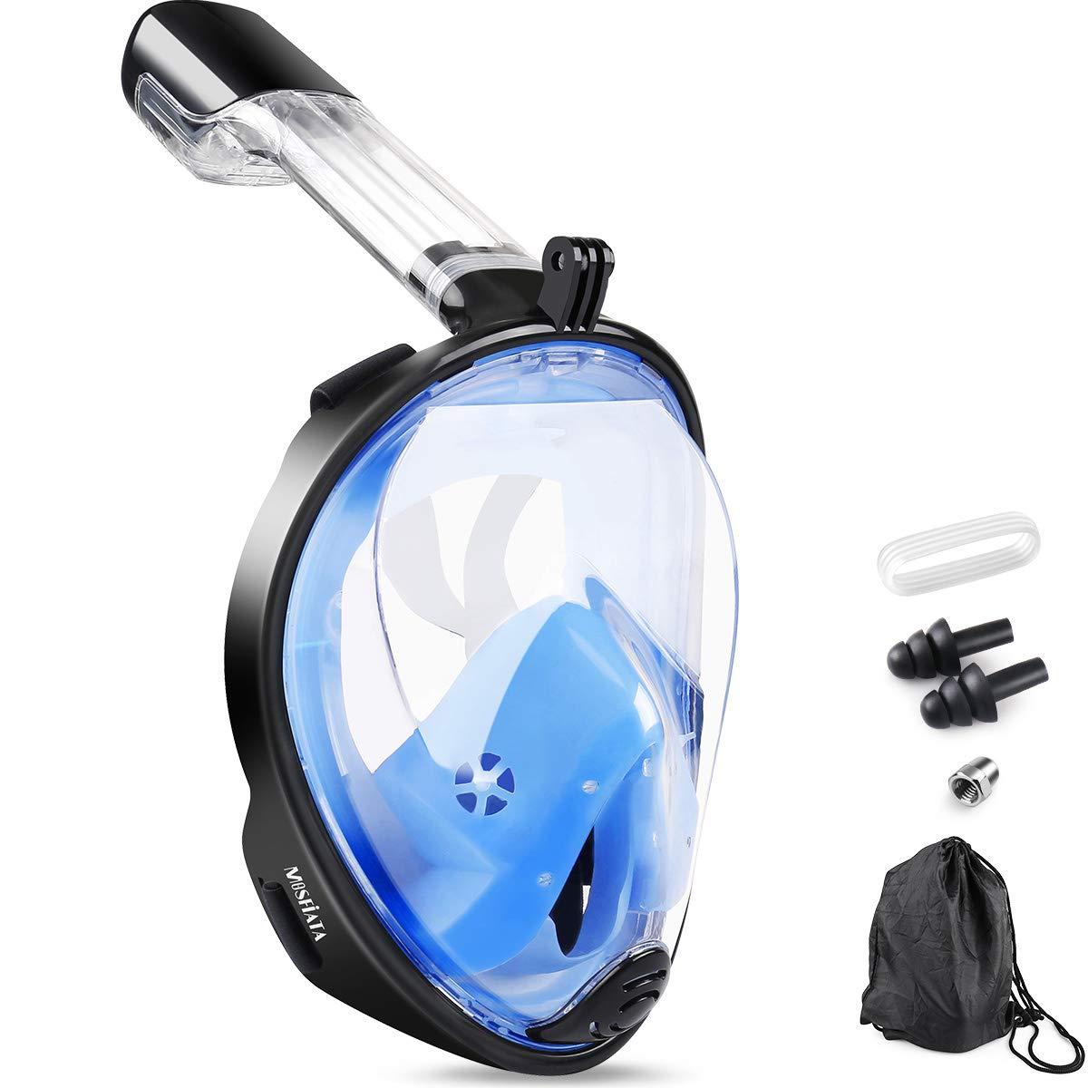 MOSFiATA Tauchmaske Vollmaske Schnorchelmaske Tauchermaske Anti-Fog Anti-Leck durch Dual-Belüftungsschlauch