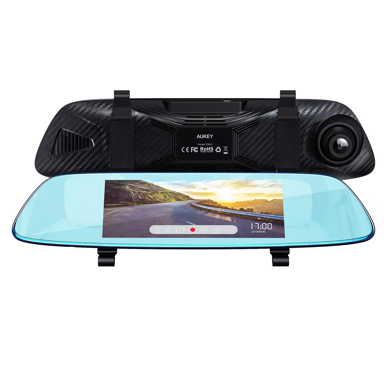 AUKEY Dash Cam Spiegel, 6,8 cm (6,8 Zoll) LCD-Touchscreen mit Rückkamera und Parkmodus