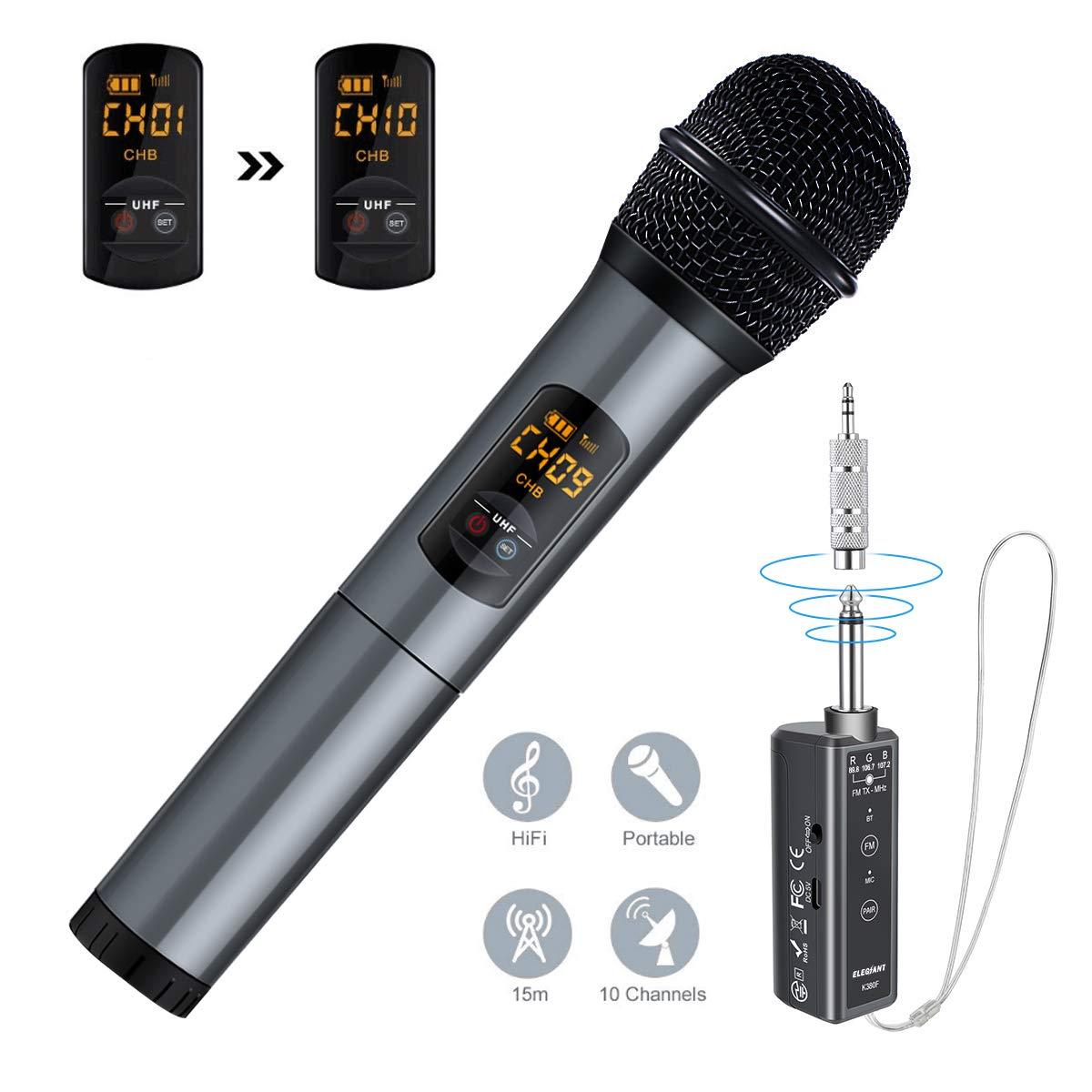 ELEGIANT Funkmikrofon, Kabelloses Mikrofon UHF mikrofon Bluetooth mit Empfänger drahtlos Microphone Karaoke Handmikrofon über 15m Geschenk