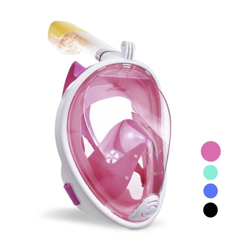 wolketon Tauchmaske Vollgesichtsmaske Schnorchelmaske 180° Sichtfeld Kamerahaltung Anti-Fog Anti-Leck für Erwachsene und Kinder