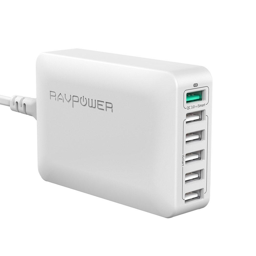 RAVPower USB Ladegerät Mehrfach 6-Port 60W Ladeadapter