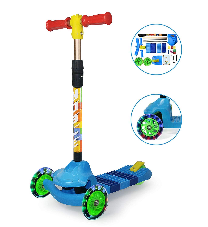 Kinderscooter Roller Dreirad Kinderroller DIY Spleißen Roller PU Flash Mute Riemenscheibe