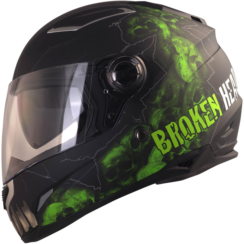 Broken Head Broken Skull | Motorradhelm Mit Sonnenblende | Integral-Helm In Schwarz & Grün | Größe S (55-56 cm)