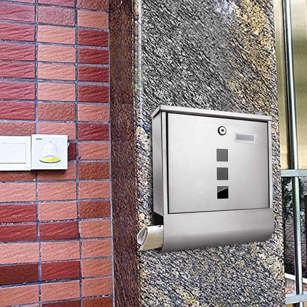Briefkasten mit Zeitungsfach, Edelstahl gebürstet, mit Sichtfenstern, Namensschild, abschließbar, Wasserdicht Postkasten