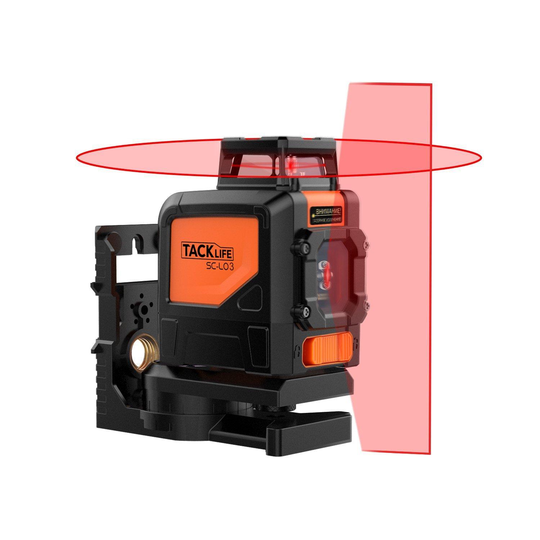 Tacklife SC L03 Klassischer Kreuzlinien-Laser mit Messbereich 30M und Neigungsfunktion, 360 Grad Horizontaler Linie, Linienlaser IP 54
