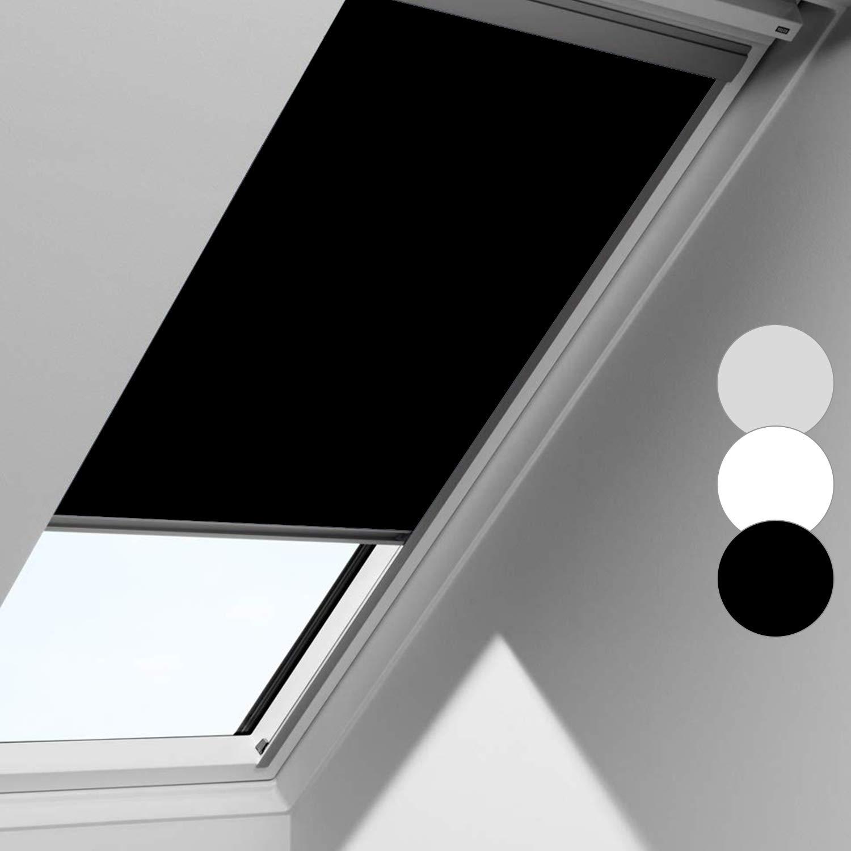 wolketon Schwarz Verdunkelungsrollo F04 Rollo für VELUX Dachfenster, 100% Verdunkelung, mit Seitenschienen in Silber, 49.3 * 74cm