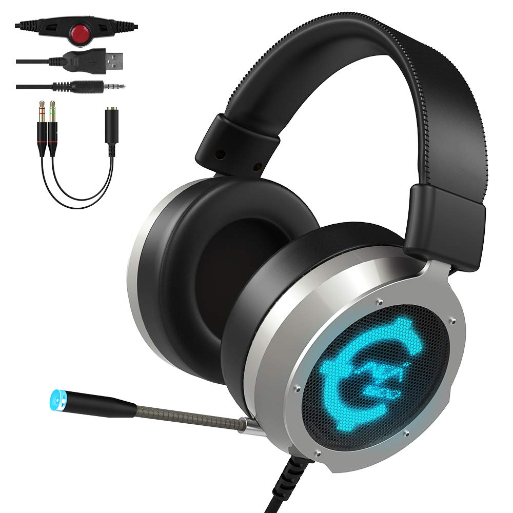 CACAGOO Gaming Headset für PS4 Xbox One PC, Gaming Kopfhörer mit Mikrofon