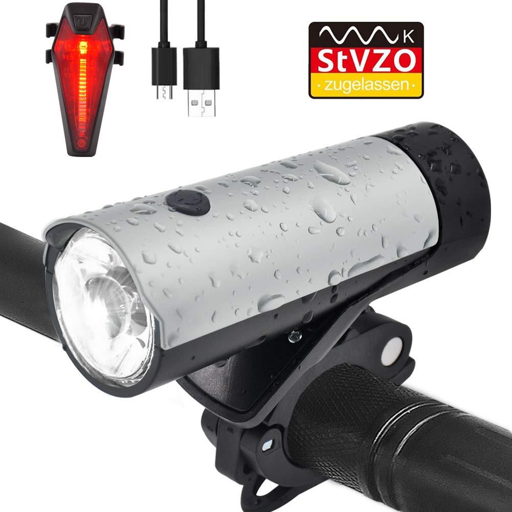 LENDOO LED Fahrradlicht Set, StVZO Zugelassen USB Wiederaufladbare Fahrradbeleuchtung fahrradlichter Set