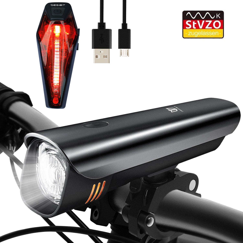 Degbit LED Fahrradlicht Set, StVZO Zugelassen USB Wiederaufladbare LED Fahrradbeleuchtung Set