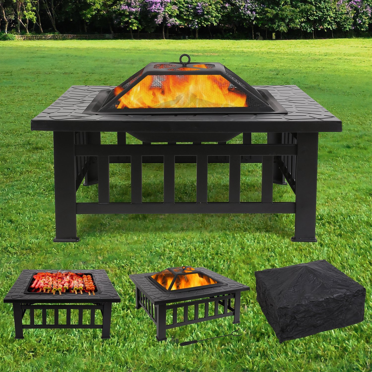 femor Feuerstelle mit Grillrost 81x81x45cm, Multifunktional Fire Pit