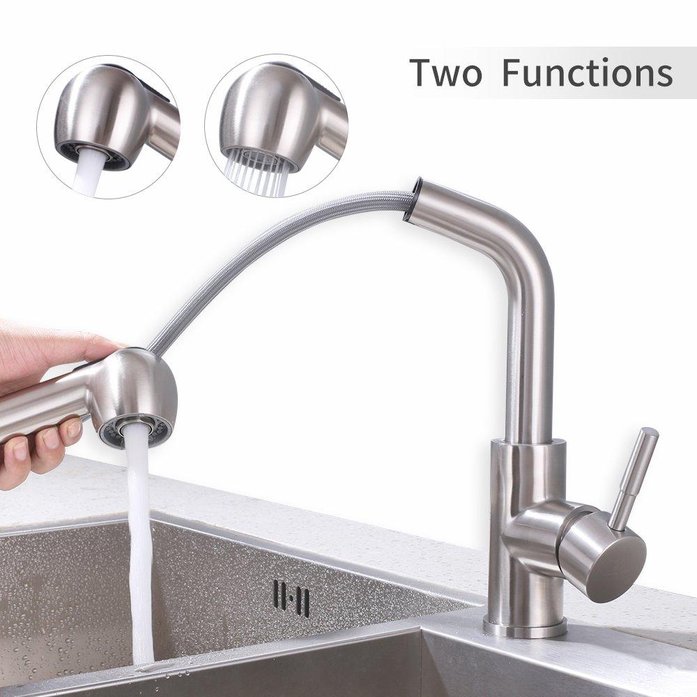 Homelody 360° Drehbar Küchenarmatur Ausziehbar Wasserhahn Küche 2 Strahlarten