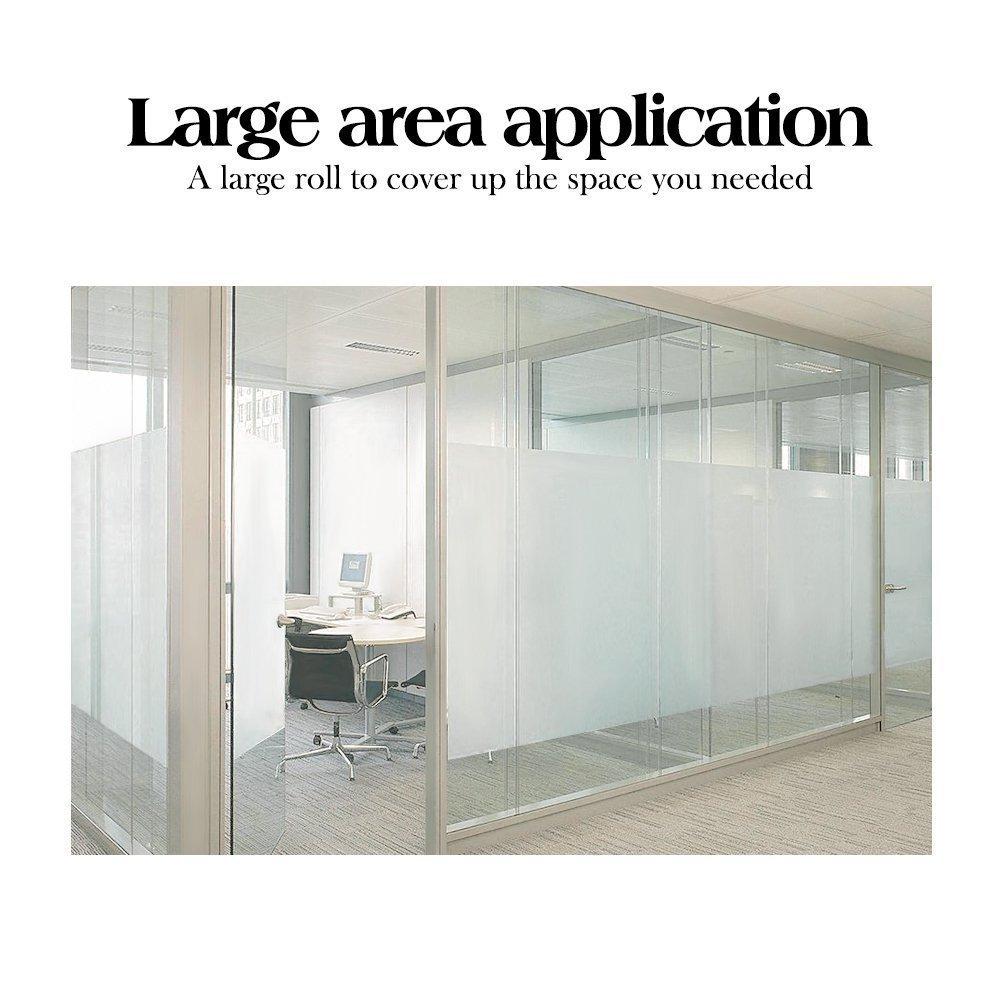 rabbitgoo Fensterfolie Selbstklebend Milchglasfolie Blickdicht Sichtschutzfolie Fenster Anti-UV Statische für Büro oder Zuhause Matt 44.5 x 200 cm