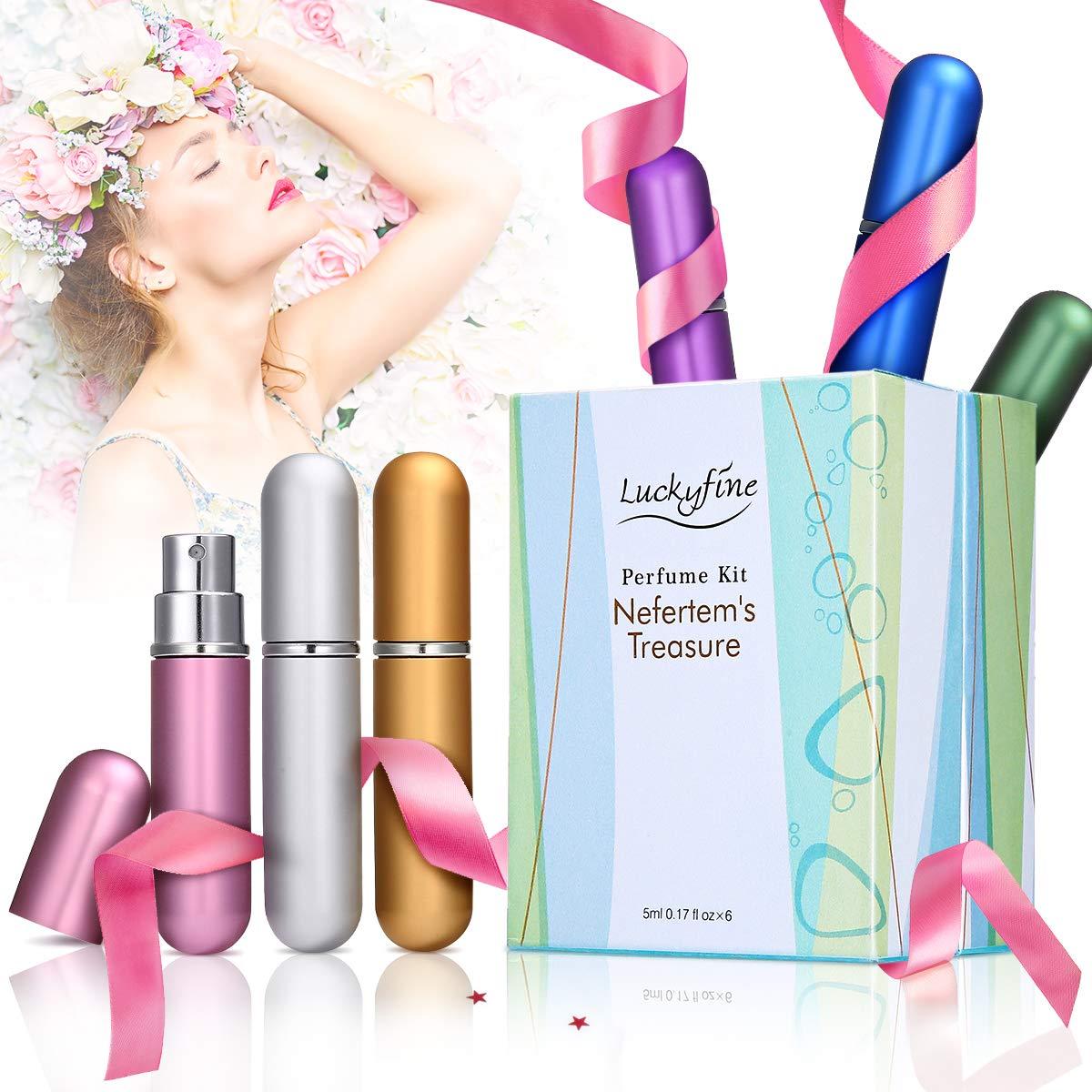 Parfum Set, Luckyfine Miniatur Frauen Eau de Parfum Spray Geschenkset 6×5 ml