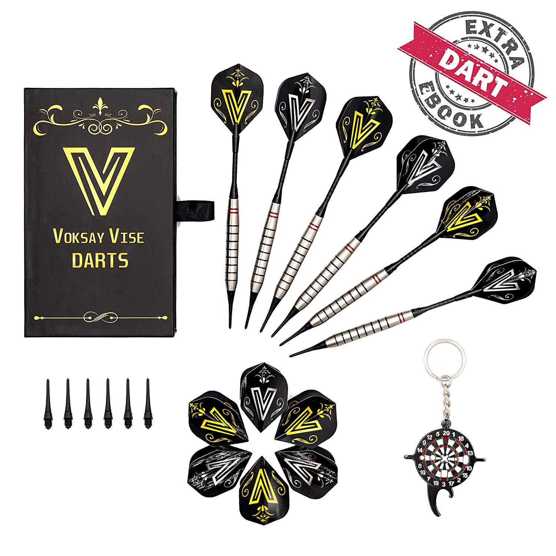 VOKSAY VISE Dartpfeile Set (6 Stück) | Softdarts (18g) für Elektronische Dartscheiben