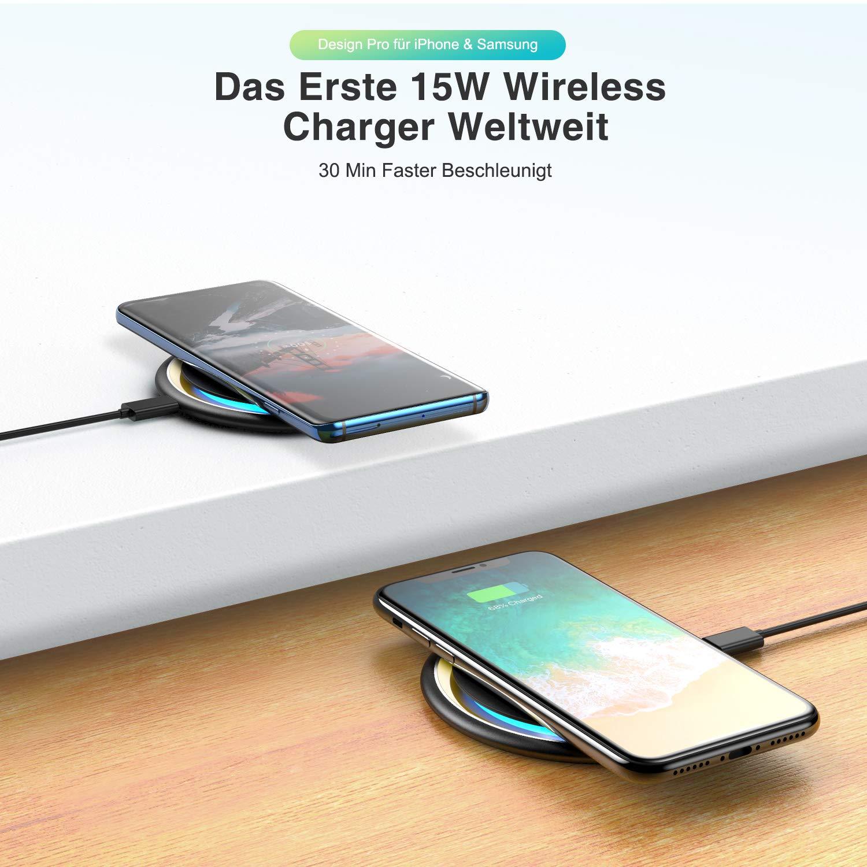 VANMASS Fast Wireless Charger Qi 15W Induktive Ladestation