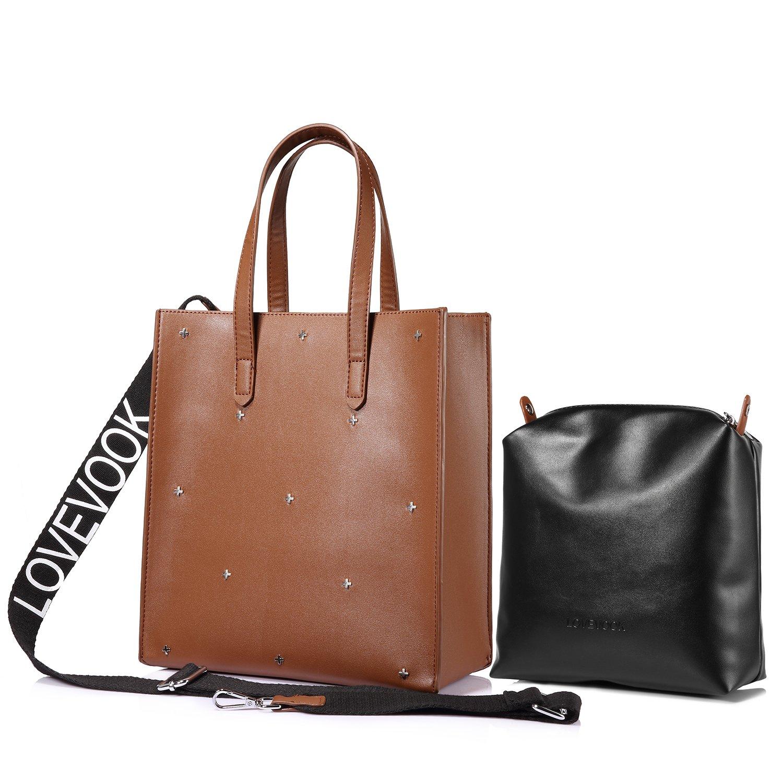 Handtaschen Damen Umhängetasche Shopper Tasche Schultertasche Tote 2 Stück