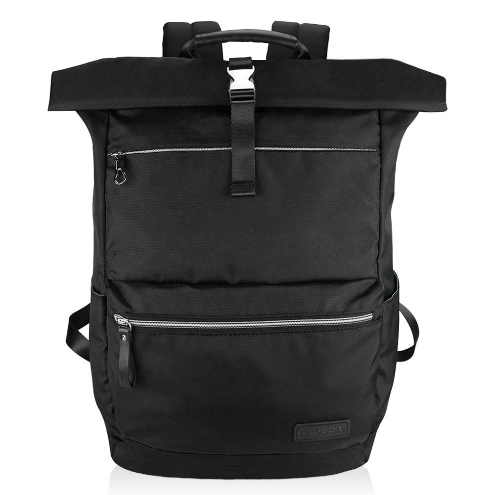 KROSER Laptop Rucksack Roll Top 17,3 Zoll groß Fahrradrucksack