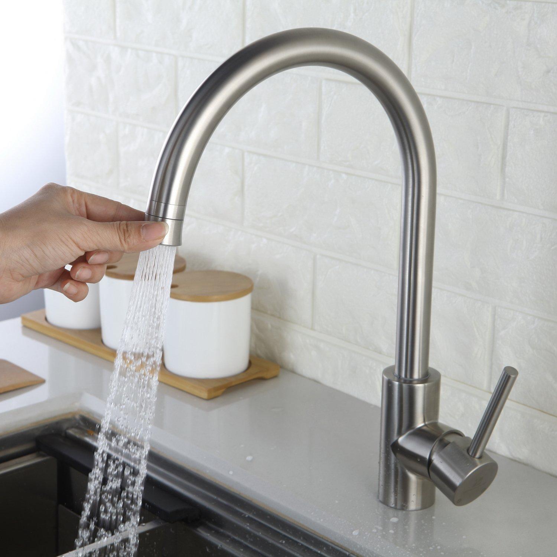 Homelody Küchenarmatur 360° drehbar Wasserhahn Armatur Einhebelmischer Mischbatterie Waschbecken Edelstahl Spüle