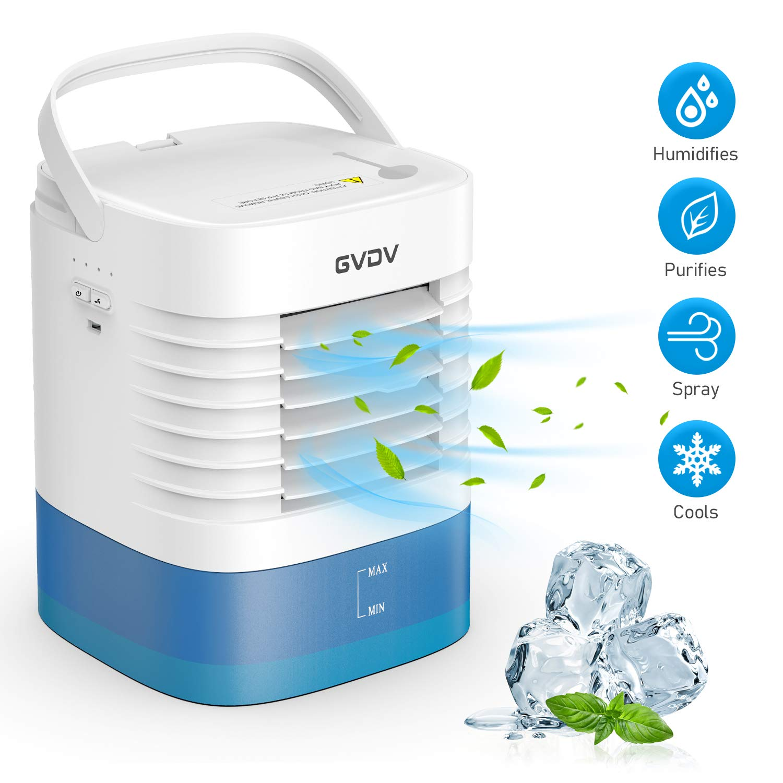 GVDV Mini Luftkühler Air Cooler 3 in 1 – USB Luftkühler Luftbefeuchter und Luftreiniger