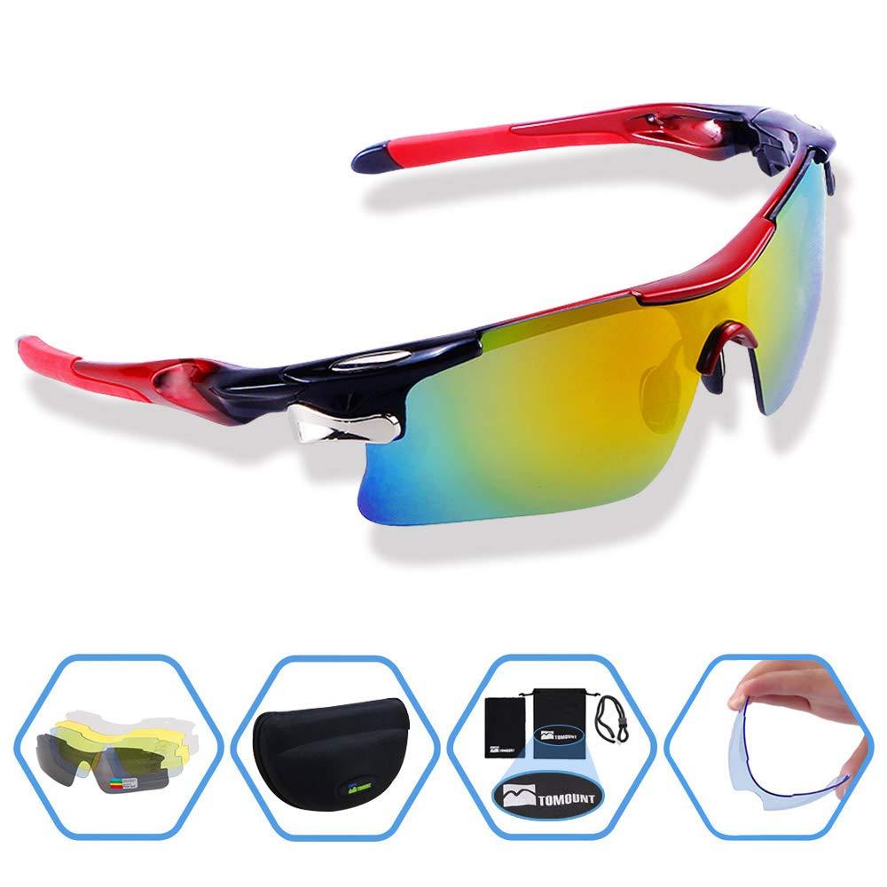 TOMOUNT Fahrradbrille, Sprotbrille Sonnenbrille mit 5 Wechselgläsern