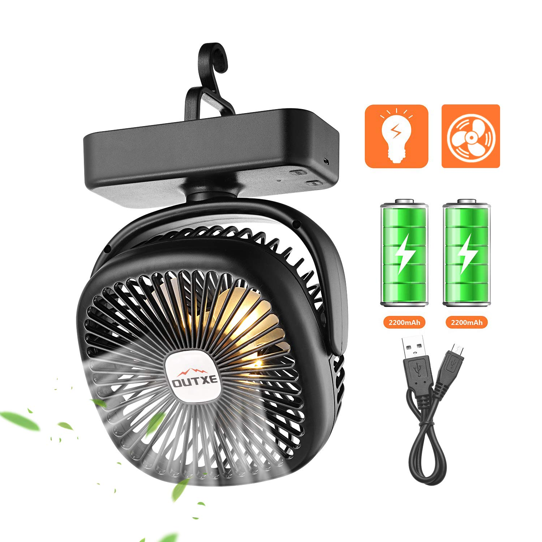 OUTXE Camping Ventilator mit Nachtlicht Zelte Ventilator USB Ventilator