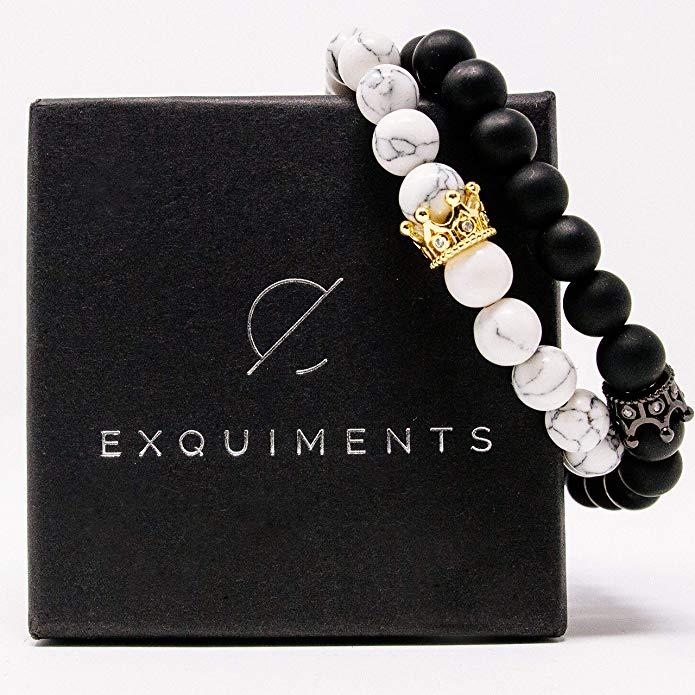Exquiments Royal Couple Partner Armbänder inklusive hochwertiger Geschenkbox I echte Edelsteine
