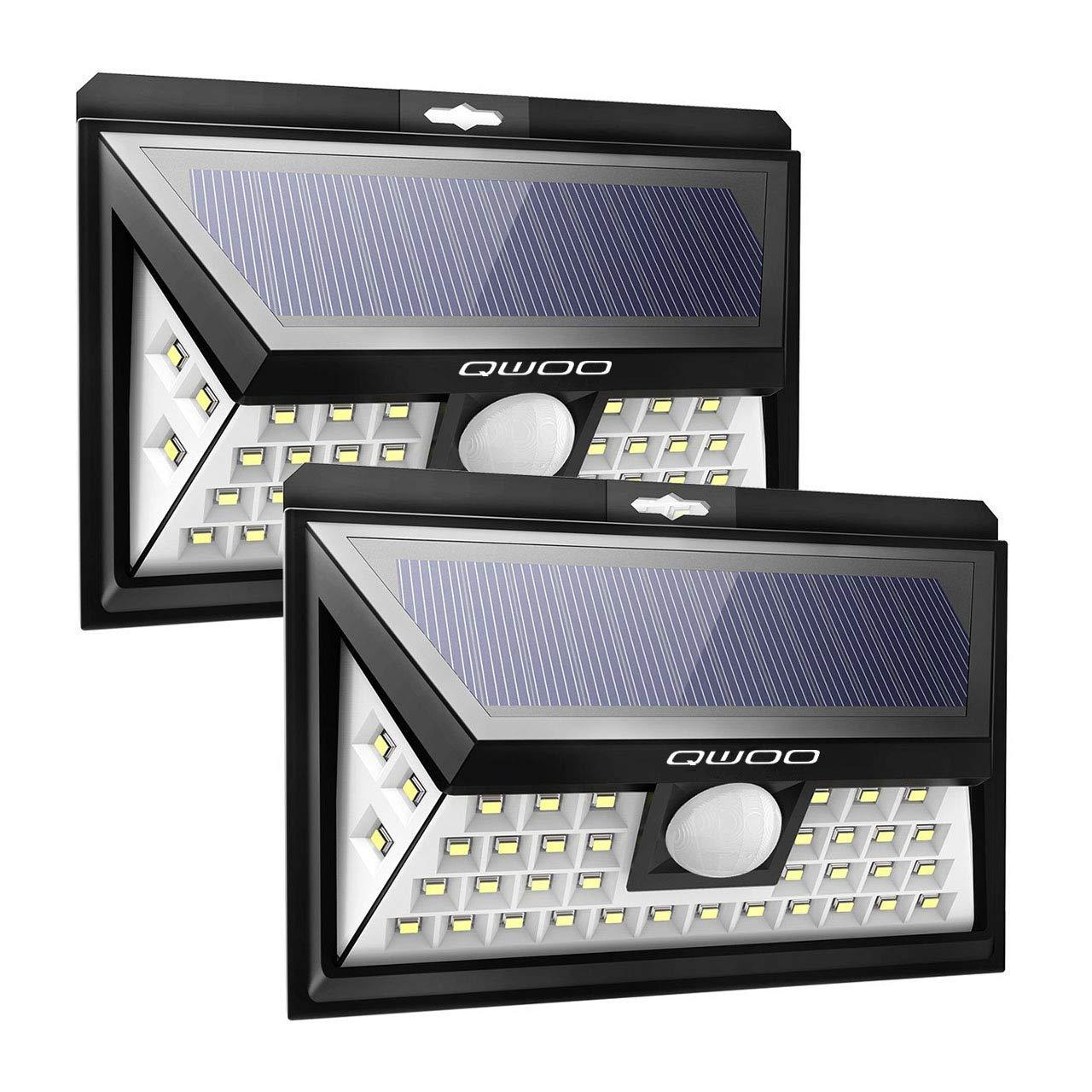 Solarleuchte für Außen,[2 Stück]QWOO 40 LED Solarlampe Außen 270°Superhelle Solarleuchte