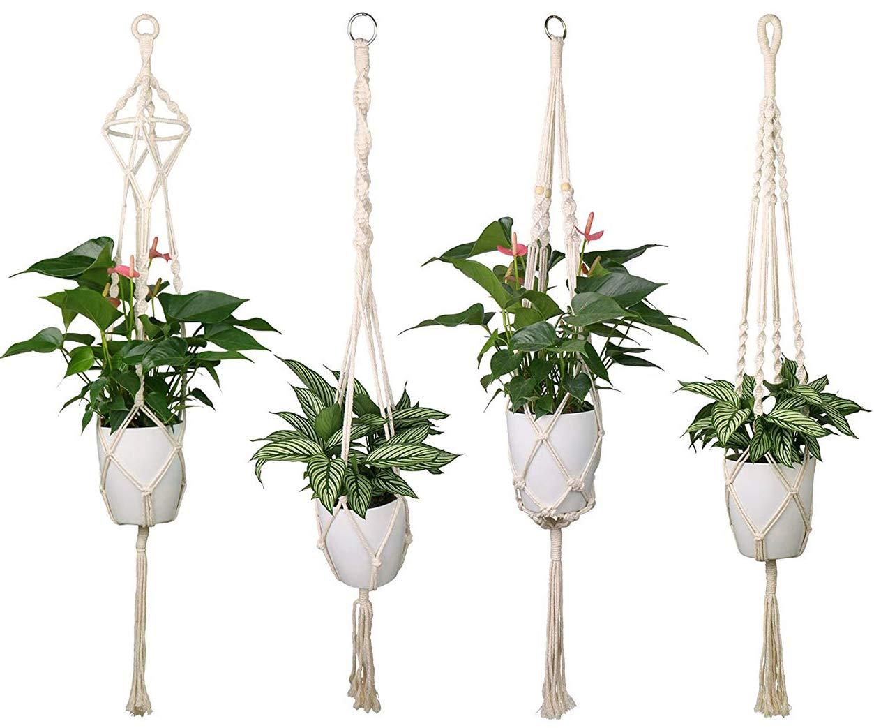 Luxbon 4er Set Makramee Blumenampel Baumwollseil Hängeampel Blumentopf Pflanzen Halter Aufhänger