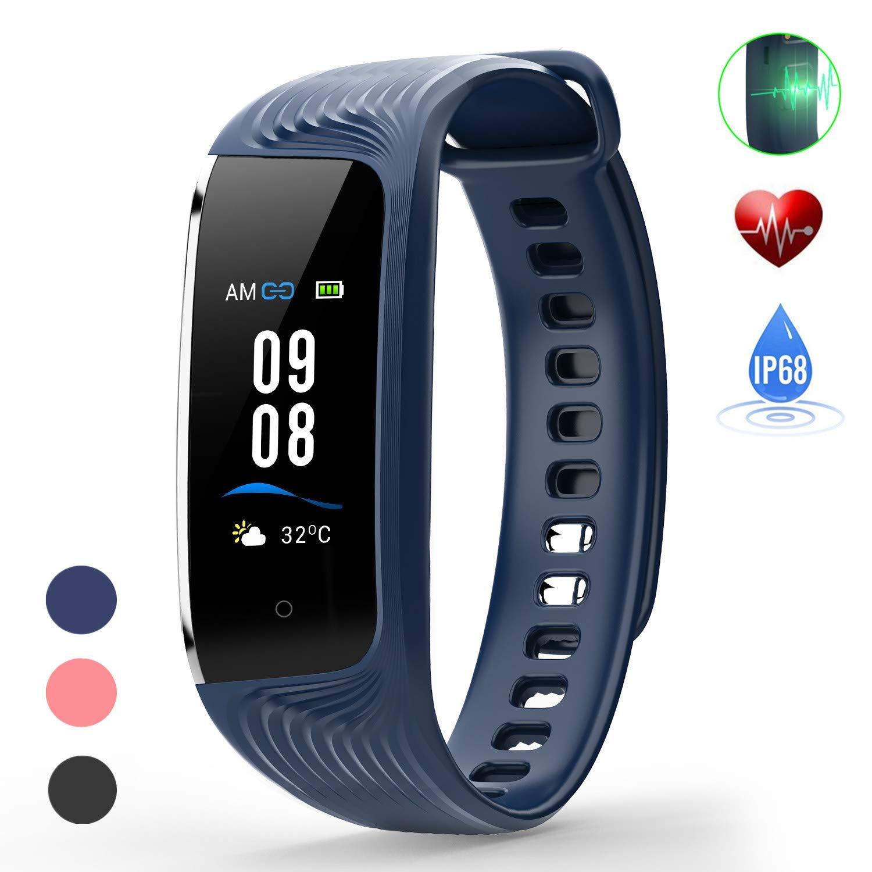 WiMiUS Fitness Armband, Fitness Tracker mit Pulsmesser,IP68 Wasserdicht Smartwatch