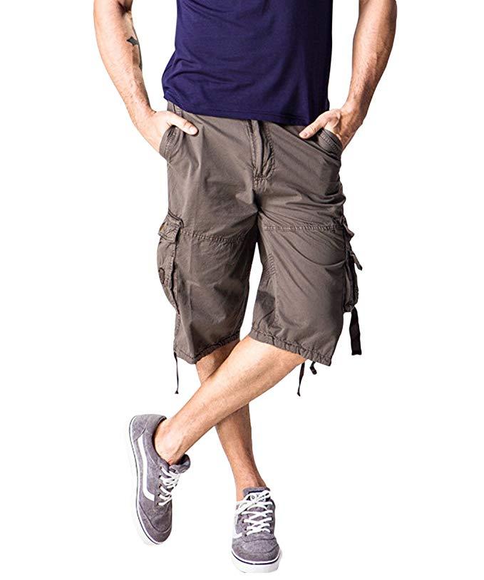 AOWOFS Herren Cargo Shorts 3/4 Bermuda Regular Fit Kurze Hosen