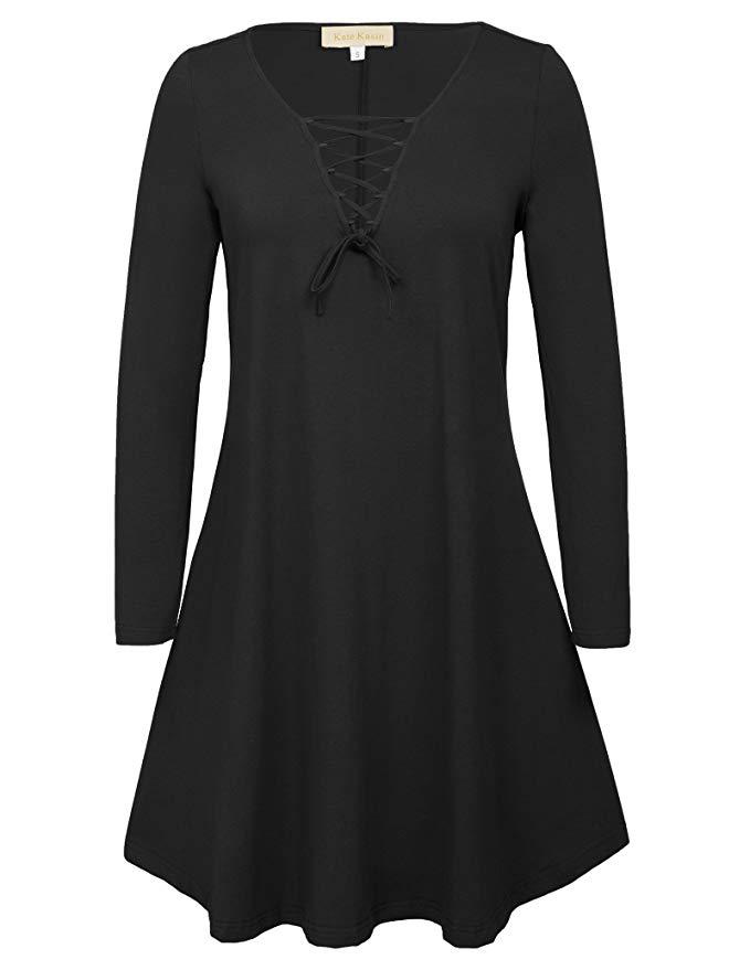80% OFF Kate Kasin Damen Lose Langarm Kleid Swing Kleid Caual Kleid