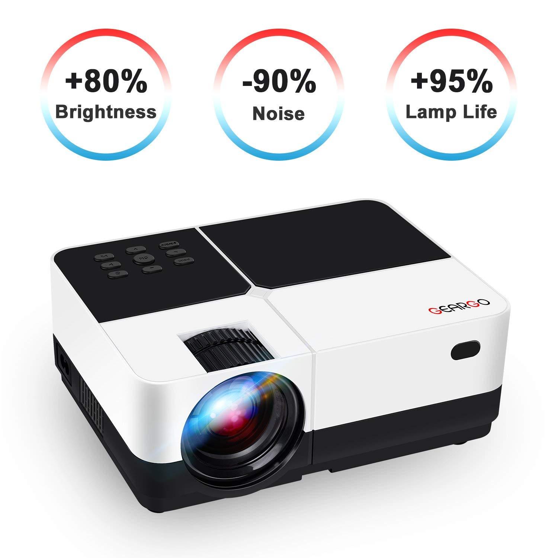 GEARGO Mini Beamer, 2800 Lumen Videoprojektor 1080P Full HD