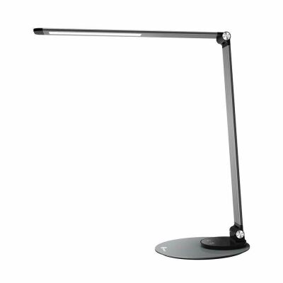 LED Schreibtischlampe TT-DL22, Silbergrau, USB Ladeanschluss