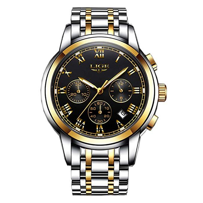 Herren Luxus Business Kleid Uhr mit Chronograph Sport Militär Quarzuhr