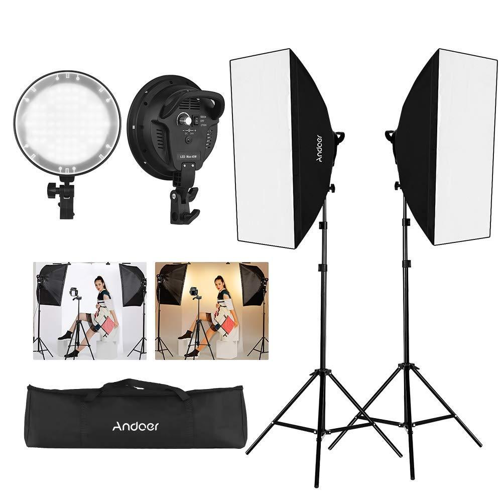 Andoer Softbox Fotostudio LED-Beleuchtungsset
