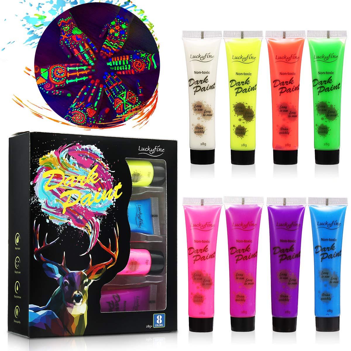 Neon Bodypainting Schminke Set, Luckyfine 8 Farben 28ml Körpermalfarben Kit