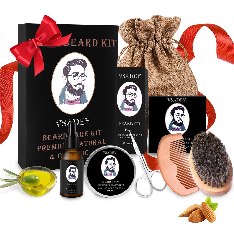 Bartpflege Set für Männer Wildschweinborsten Bartbürste Bartkamm Bartöl
