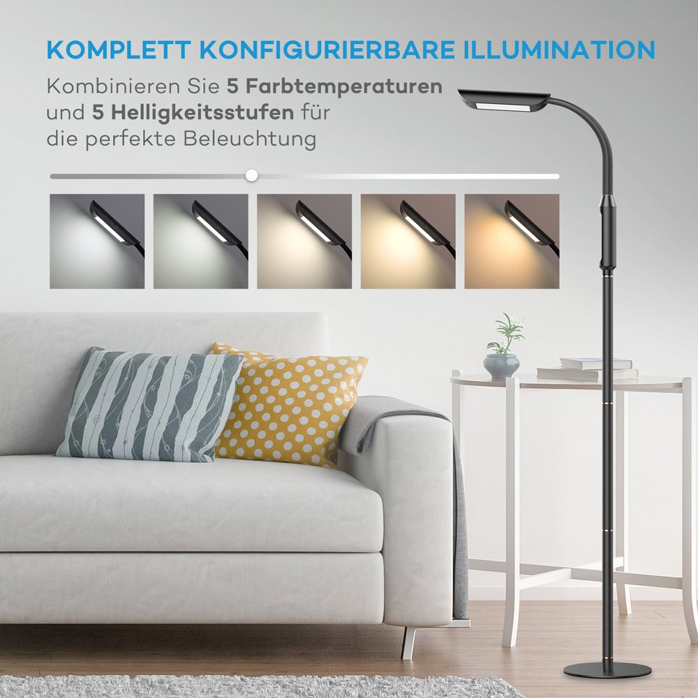 VAVA Stehlampe LED 12W Standleuchte 1815 Lumen Bodenlampe