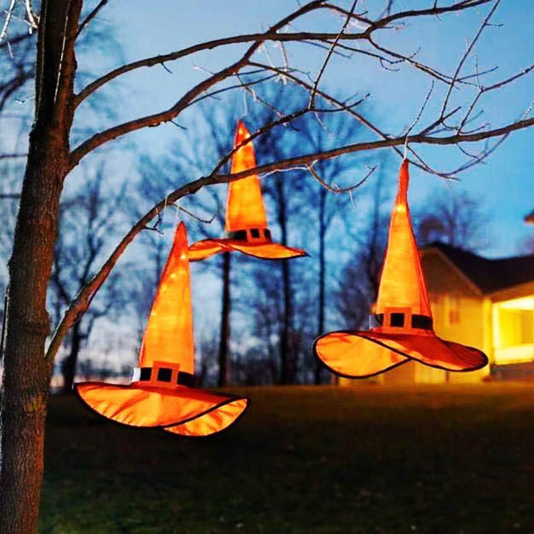 Halloween Hexenhut mit LED Licht Dekor Party Kostüm Cosplay Requisiten Partytüten