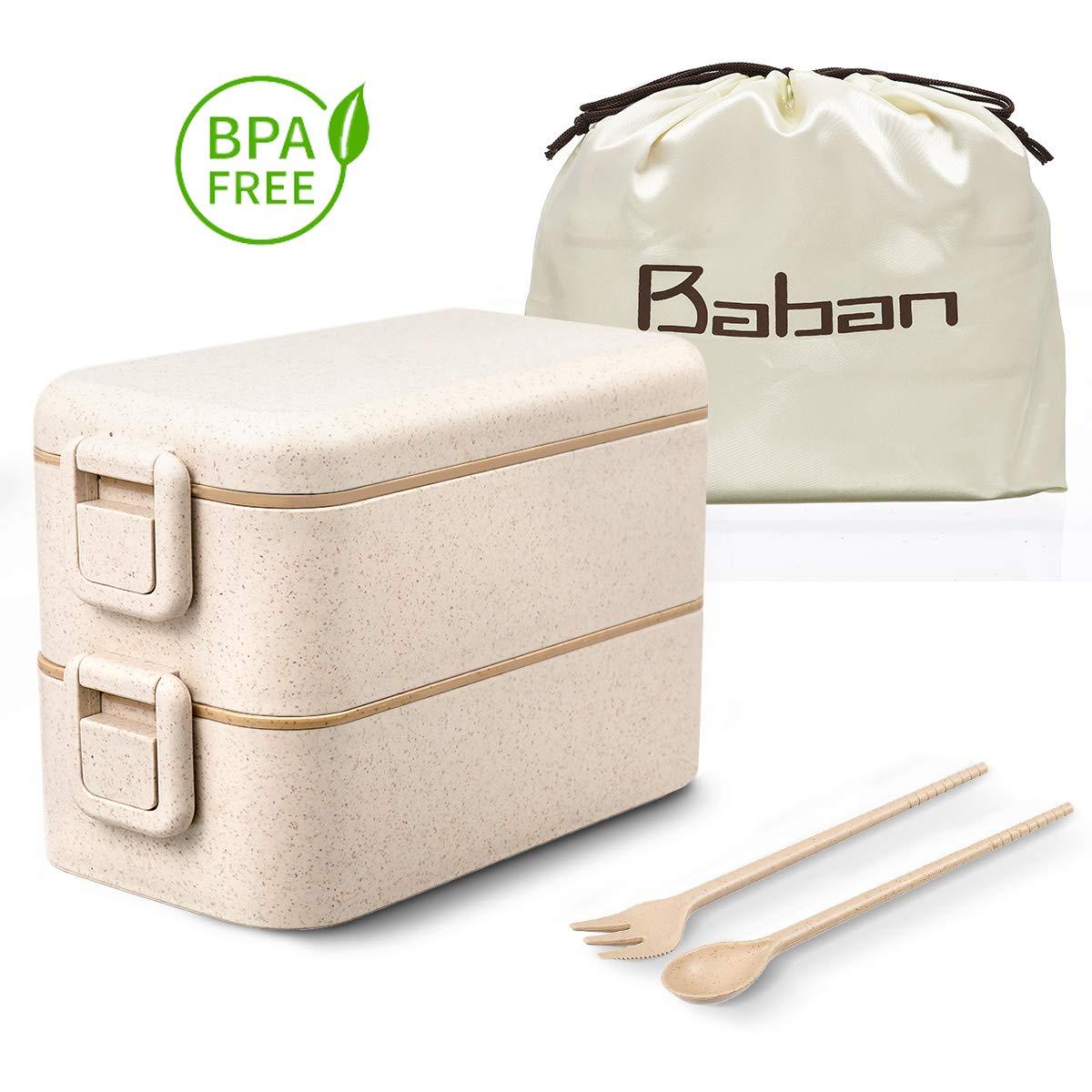 Baban Lunchbox, zweifach versiegelte Bento Box mit Gabel