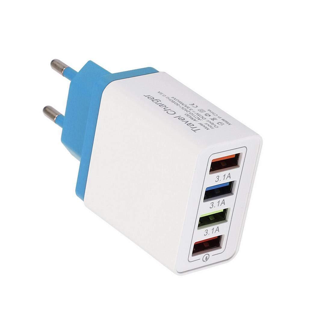 80% off USB Ladegerät 4 Port Bunte Ladegerät 5V 3.1A Ladeadapter Travel Ladekopf Wandladegerät